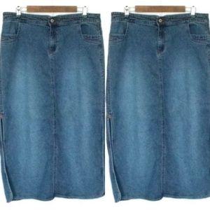 Carolina Blue Midi denim skirt with side slits 14